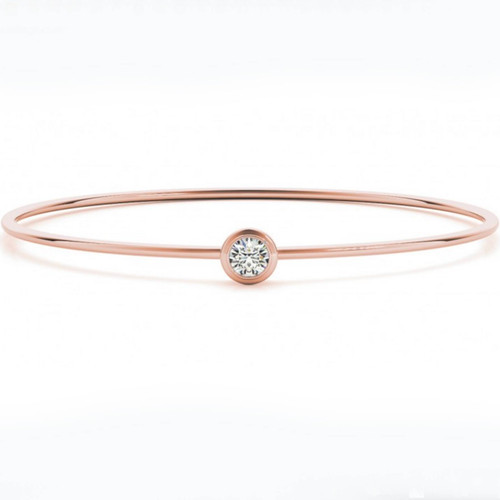 3/8ct Bezel Solitaire Round Brilliant Cut Bangle Bracelet 14k Rose Gold (H-I, I1)