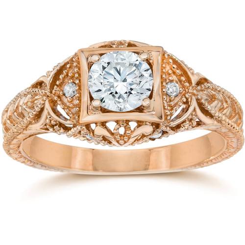 Emery 5/8 Ct Vintage Diamond Antique Engagement 14K Rose Gold (H/I, I1)