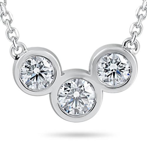 "1 3/4ct Diamond 3 Stone Bezel Pendant 14k White Gold 18"" Lobster Clasp Lab Grown (F, VS)"