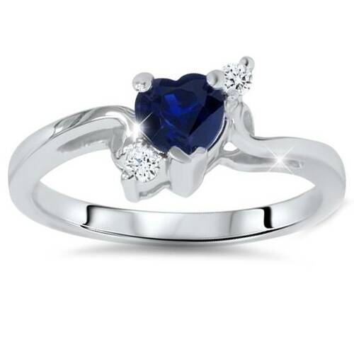 1/3ct Blue Heart Sapphire Diamond Ring 14K White Gold (G/H, I1-I2)