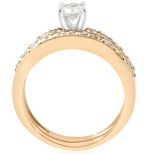 14k Yellow Gold 1 Carat Diamond Engagement Ring Matching Wedding Band Set (H/I, I1)