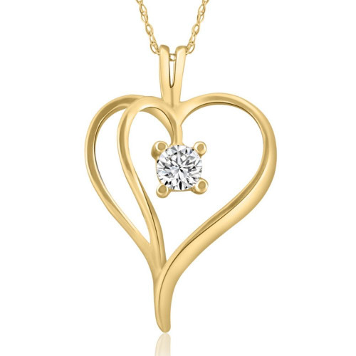 """1/3Ct Solitaire Round Diamond Heart Pendant & Chain 14K Yellow Gold 1"""" Tall (G/H, I2)"""