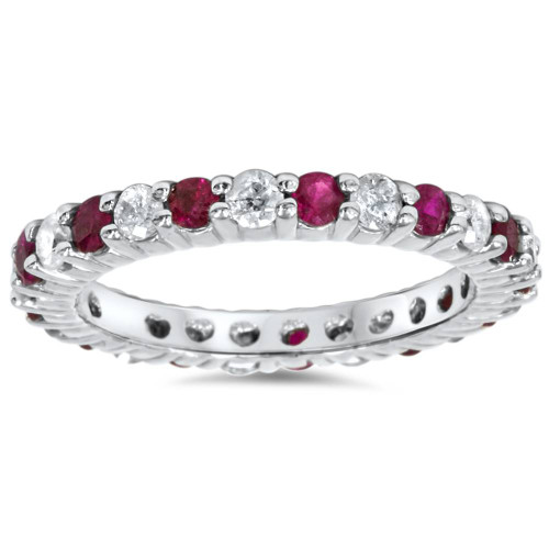 1 1/2ct Ruby & Diamond Eternity Ring 14K White Gold (G/H, I1-I2)