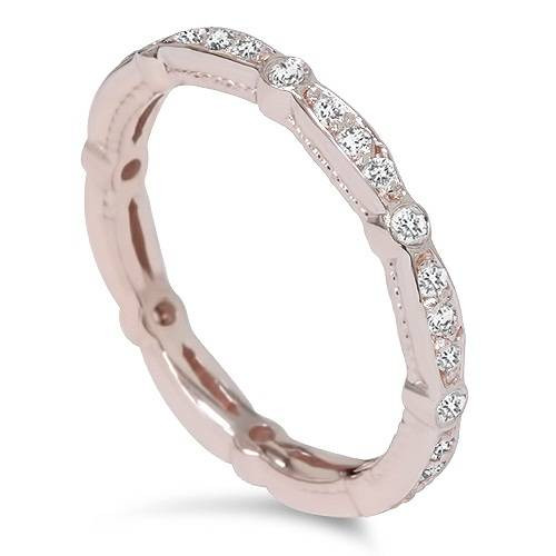 3/8ct Stackable Diamond Eternity Ring 14K Rose Gold (G/H, VS2-SI1)