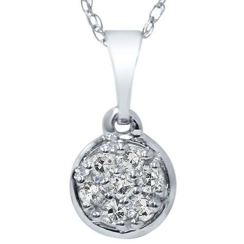 """1/16ct Pave Diamond Solitaire Cluster Dangle Pendant 14K White Gold 1/2"""" Tall (G/H, I2-I3)"""
