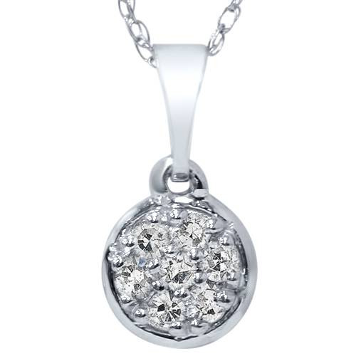 "1/16ct Pave Diamond Solitaire Cluster Dangle Pendant 14K White Gold 1/2"" Tall (G/H, I2-I3)"