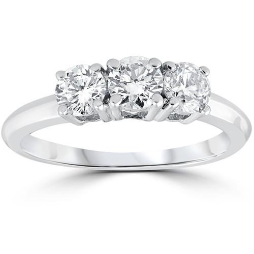 1 Carat 3-Stone Diamond Engagement Ring Solitaire Round Cut 14k White Gold (G/H, I2)