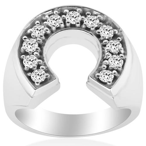 3/4ct Mens Diamond Horseshoe Lucky Pinkie Ring 14K White Gold (G, I1)