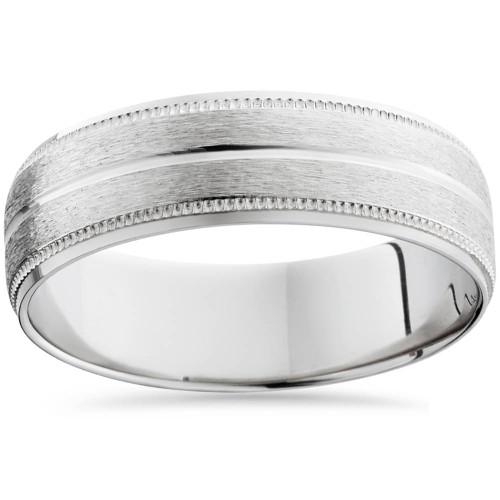 950 Platinum 6mm Comfort Fit Brushed Wedding Band Ring