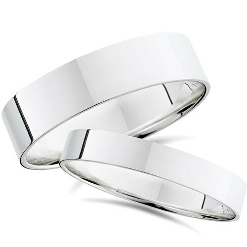 Plain High Polished Flat Wedding Bands 14K White Gold