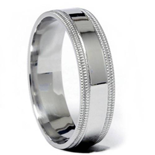 Double Milgrained Wedding Band 950 Platinum
