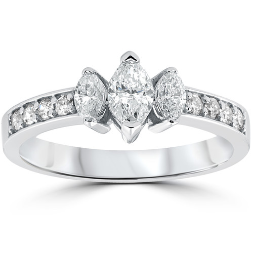 1ct 3-Stone Marquise Diamond Engagement Ring 14K White Gold (G-H, SI(1)-SI(2))