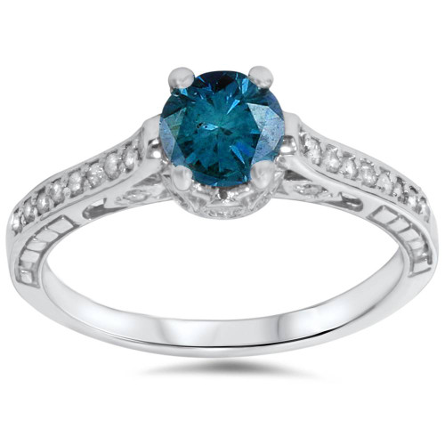 1 1/4ct Vintage Treatd Blue Diamond Engagement Ring White Gold Round Solitaire (G/H, I2)