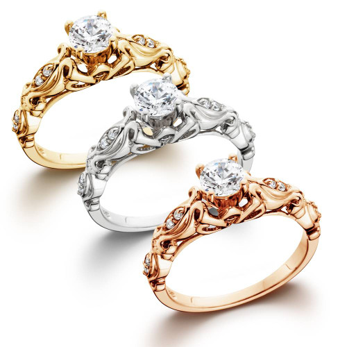 1/2Ct Diamond Vintage Engagement Ring In 14K White Yellow Or Rose Gold (H-I, I1-I2)