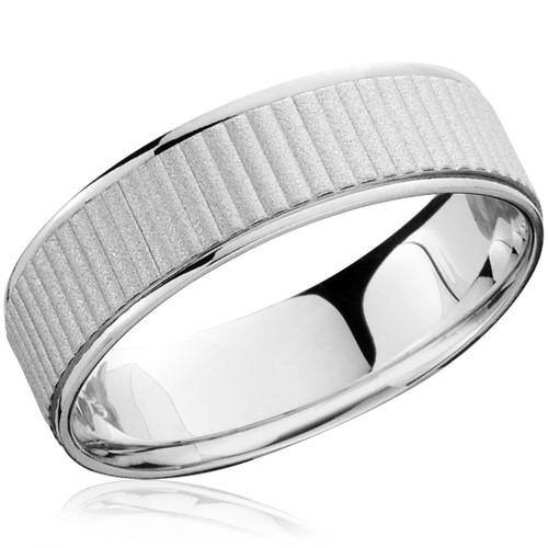 Mens 14K White Gold Comfort Fit Brushed Wedding Band