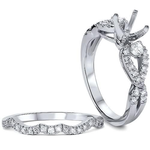 1/2ct Diamond Infinity Style Twist Engagement Setting Set 14K White Gold (G/H, SI1-SI2)