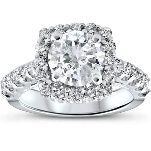 3 ct Diamond Cushion Halo Engagement Ring 14k White Gold Enhanced ((G-H), I1-I2)