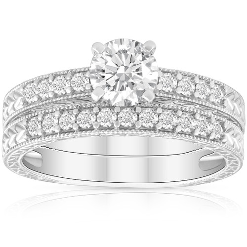 1 1/2ct Diamond Engagement Ring & Matching Vintage Wedding Band Set White Gold (H/I, I1-I2)