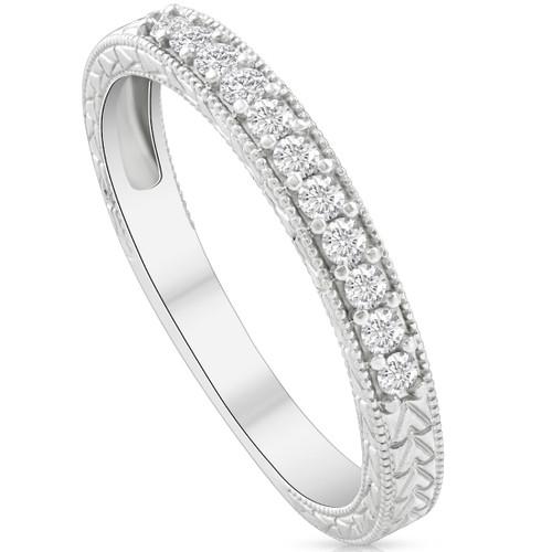 1 1/2ct Diamond Engagement Ring & Matching Vintage Wedding Band Set White Gold (H/I, I1-I2)