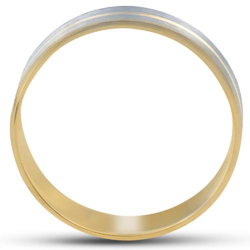 14K Gold Two Tone Flat Wedding Band 6mm Brushed White & Yellow Mens RIng