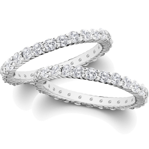 2ct Diamond Eternity Stackable Wedding Rings Set 14K White Gold ((G-H), SI(1)-SI(2))