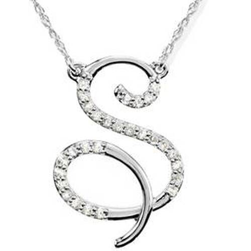"1/8ct Diamond ""S"" Initial Pendant 18"" Necklace 14K White Gold (G/H, I2)"