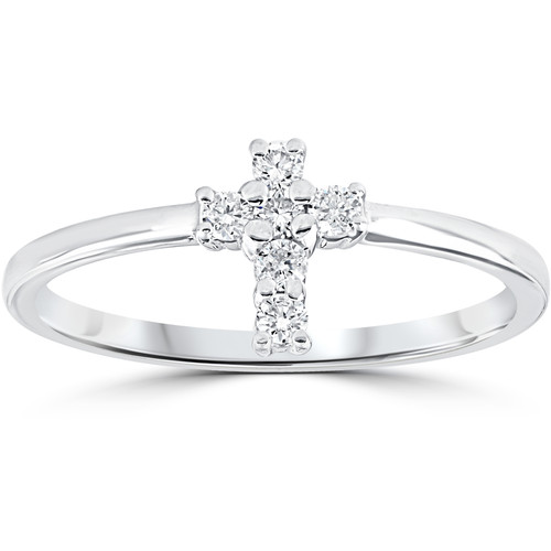 Diamond Cross Ring 1/6 cttw 10k White Gold (I/J, I1-I2)