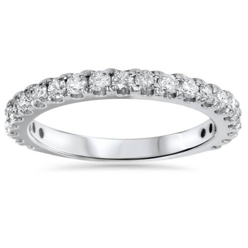 1ct Diamond 3/4 Eternity Stackable Wedding Ring 14K White Gold Size 5.5 (F, VS)