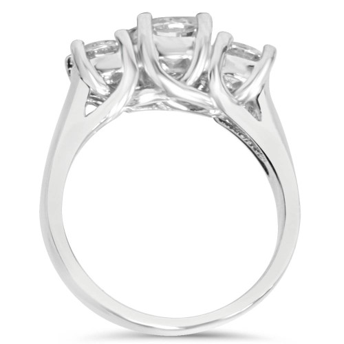 1ct 3-Stone Round Diamond Engagement Ring 14K White Gold (G/H, VS)