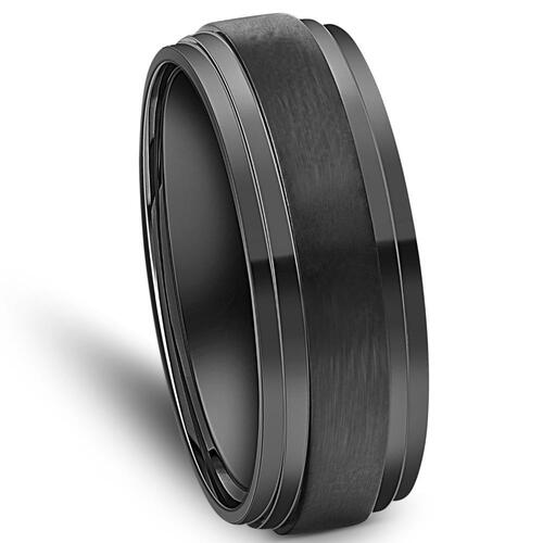 Mens 9mm Titanium Black Comfort fit Brushed Wedding Band