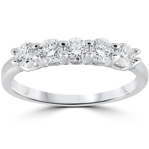F/VVS .71 cttw Five Stone Diamond Wedding Ring Women Anniversary Band White Gold (F, VVS)
