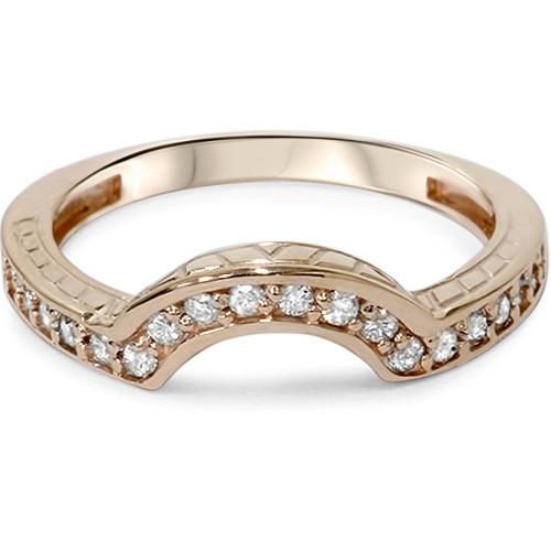 1/4ct Vintage Diamond Curved Guard Ring 14K Rose Gold (H/I, I1-I2)