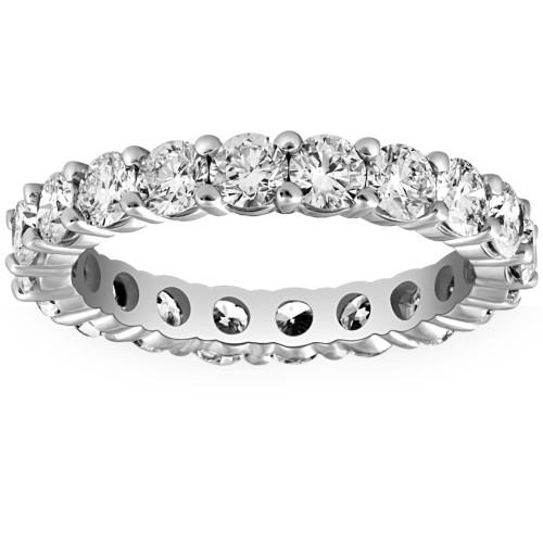 2.70 ct Lab Grown Diamond Eternity Womens Wedding Ring 14k White Gold Size 7 (F, SI)