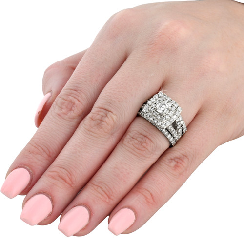 3 ct Diamond Engagement Wedding Cushion Halo Ring Set 10k White Gold (H/I, I1-I2)