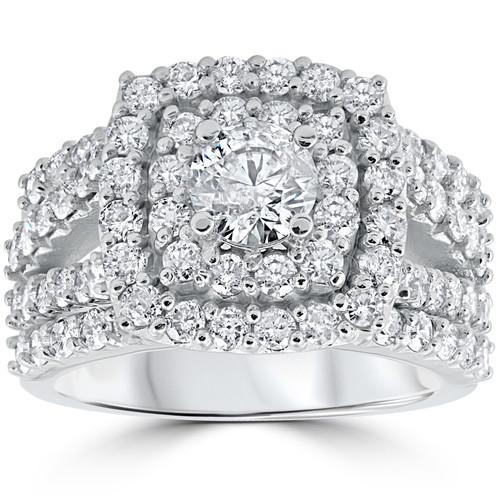 3 ct Diamond Engagement Wedding Cushion Halo Ring Set 10k White Gold (J-K, I2-I3)