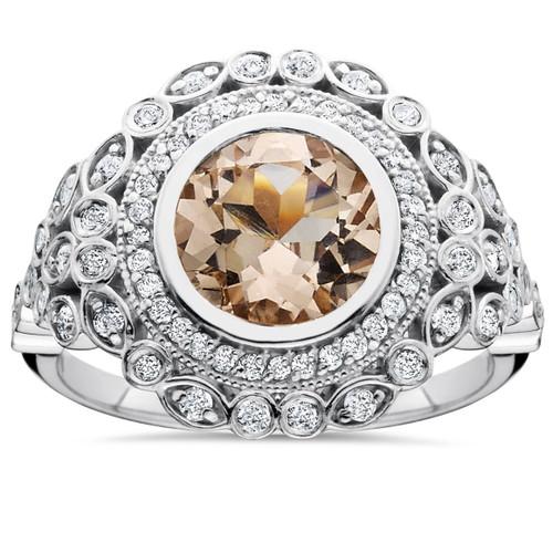 2 1/3ct Morganite & Diamond Vintage Halo Ring 14K White Gold (H/I, I1)