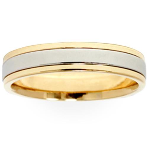 Ladies Platinum & 18k Gold Two Tone Comfort Fit Wedding