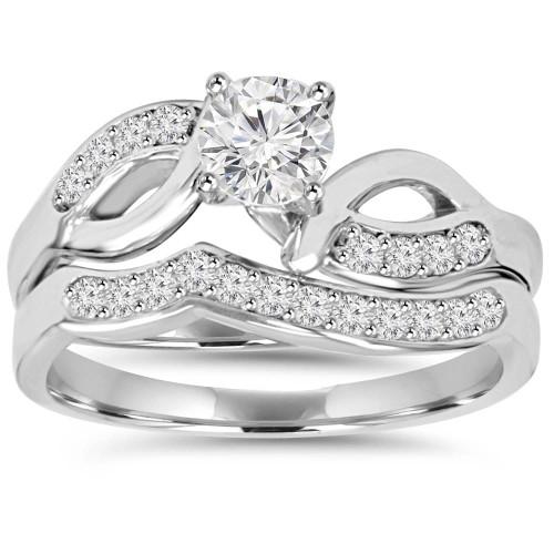 3/4CT Diamond Engagement Wedding Ring Set 10K White Gold (H/I, I1-I2)
