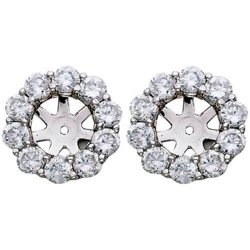 1 1/2ct Diamond Halo Earring Studs Jackets White Gold  (6-6.7mm) (G-H, I1)