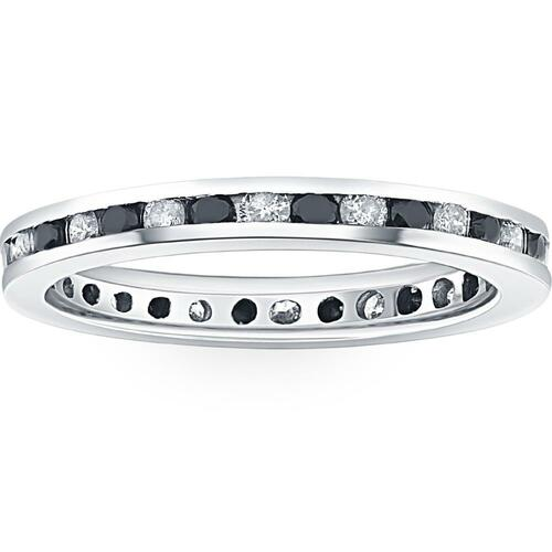 1ct Black & White Diamond Eternity Ring 14K White Gold Band (G/H, I2)