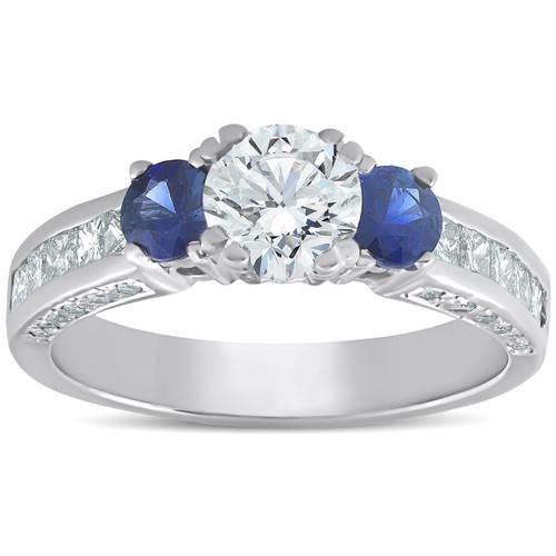 3ct Three Stone Enhanced Diamond Blue Sapphire Accent Ring 14K White Gold (GH, I1)