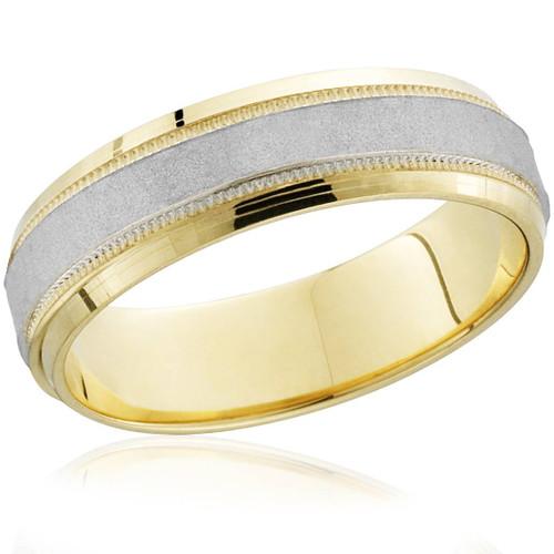 18k Gold & Platinum Brushed Two Tone Wedding Band Ring