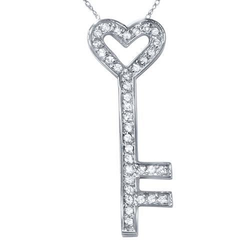 1/2ct Real Diamond 14K White Gold Key Pendant Necklace (H, I1)