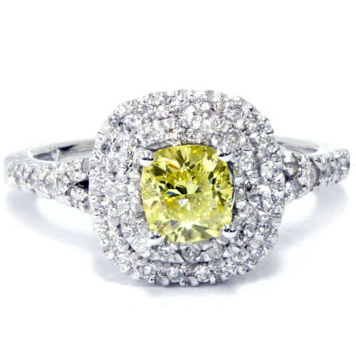1 1/2 Ct Canary Cushion Diamond Double Halo Engagement Ring 14K White Gold (H/I, SI1-SI2)
