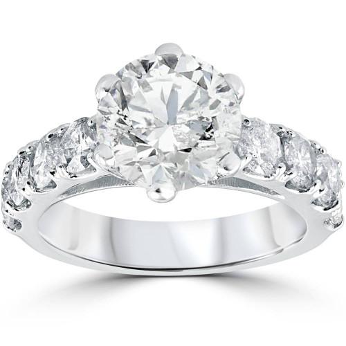 4 1/2 cttw Diamond Engagement Ring 14k White Gold Enhanced (I/J, I2-I3)
