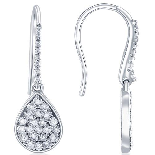 """VS 1 1/8ct Diamond Hoops Dangle Pear Shape Earrings 18K White Gold 1 1/4"""" Tall (G/H, VS)"""