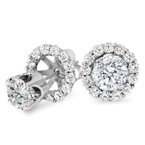 1.55Ct Diamond Studs & Earring Halo Jackets 14K White Gold (H-I, I1-I2)