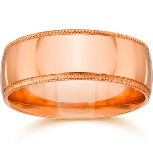 7mm Milgrain 14K Rose Gold Polished Wedding Band