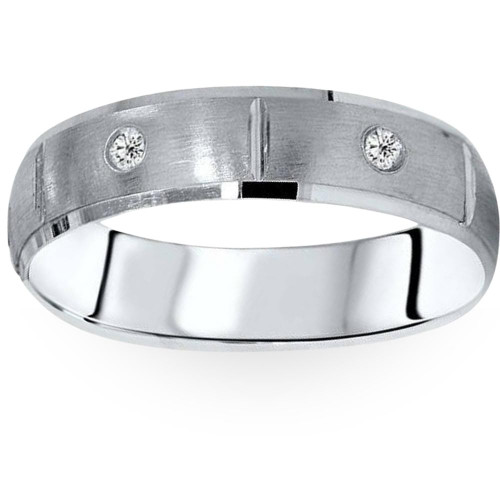 Mens Comfort Fit Bezel Diamond Wedding 14K Band Ring (G/H, SI)