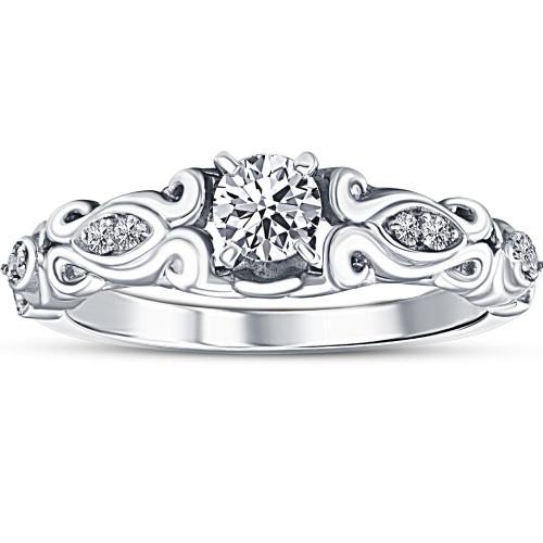 1/2ct Vintage Diamond Engagement Ring 14K White Gold (G/H, I1-I2)